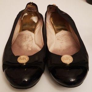 Michael Kors Dixie Black Leather Ballet Flats